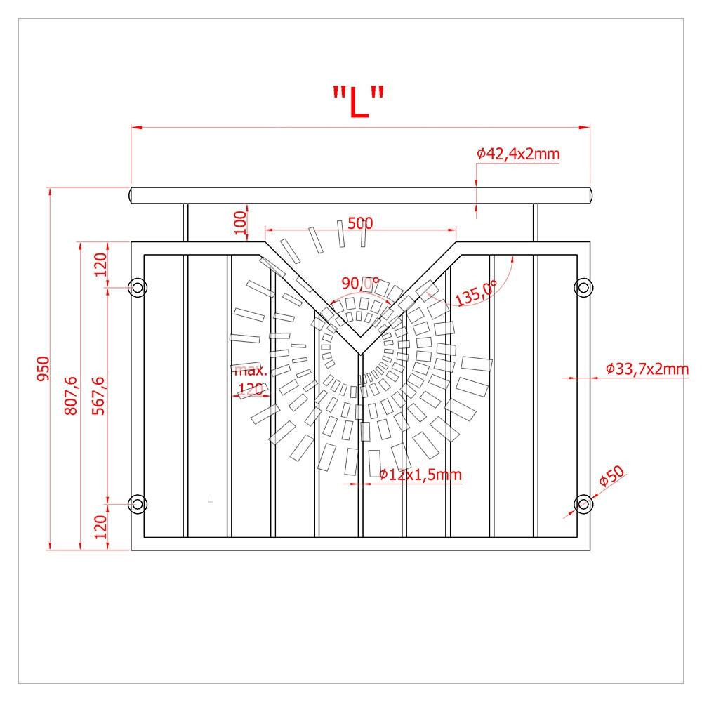 Схема французского балкона из нержавеющей стали