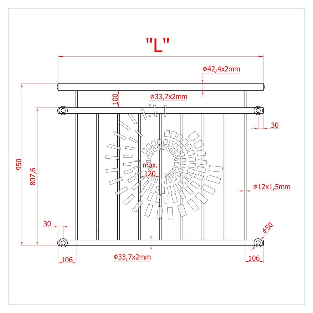 Схема французского балкона из нержавеющей стали с перфорированным листом