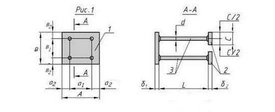 Схема закладной детали МН-105-116 компании InoxMetal