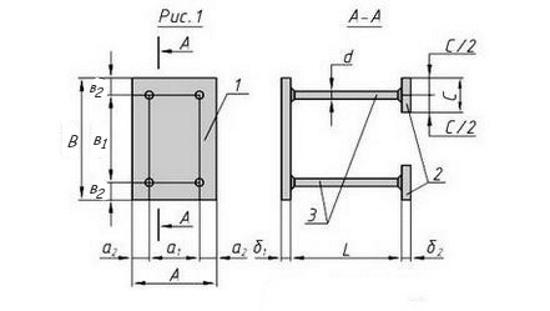 Схема закладной детали МН-117-126 компании InoxMetal