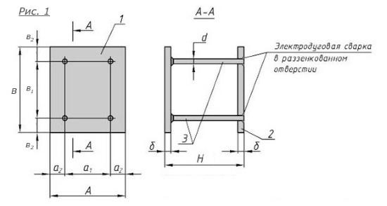 Схема закладной детали МН-210-217 компании InoxMetal