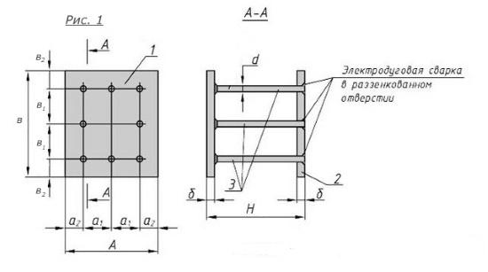 Схема закладной детали МН-218-222 компании InoxMetal