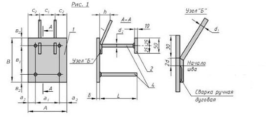 Схема закладной детали МН-301-305 компании InoxMetal