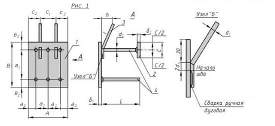 Схема закладной детали МН-306-311 компании InoxMetal