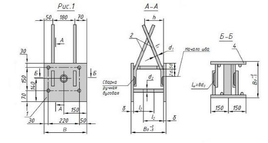 Схема закладной детали МН 601-615 компании InoxMetal