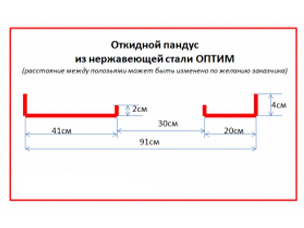 Схема откидного пандуса из нержавеющей стали ОПТИМА